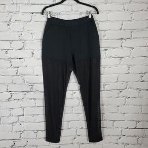 Alo Black Pants with Sheer Mesh Legs